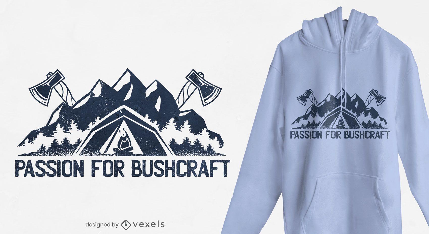 Dise?o de camiseta Bushcraft passion