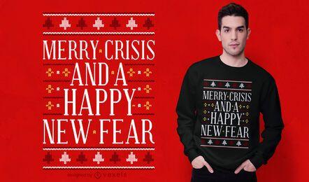 Design de t-shirt de camisola feia feliz crise