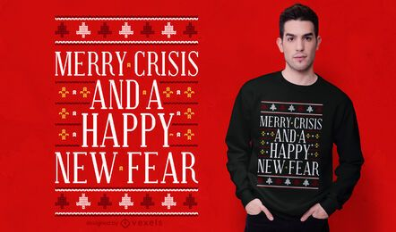Diseño de camiseta de suéter feo de crisis feliz