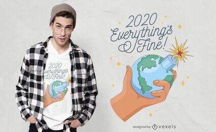 2020 com design fino de t-shirt de tudo