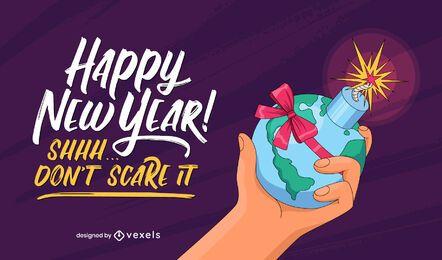Diseño de letras divertidas de año nuevo