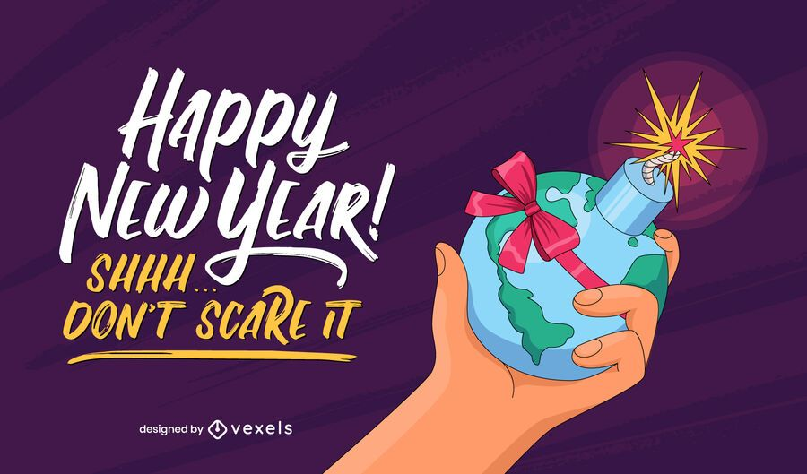 Funny new year lettering design