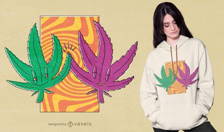 Diseño de camiseta de cannabis high five