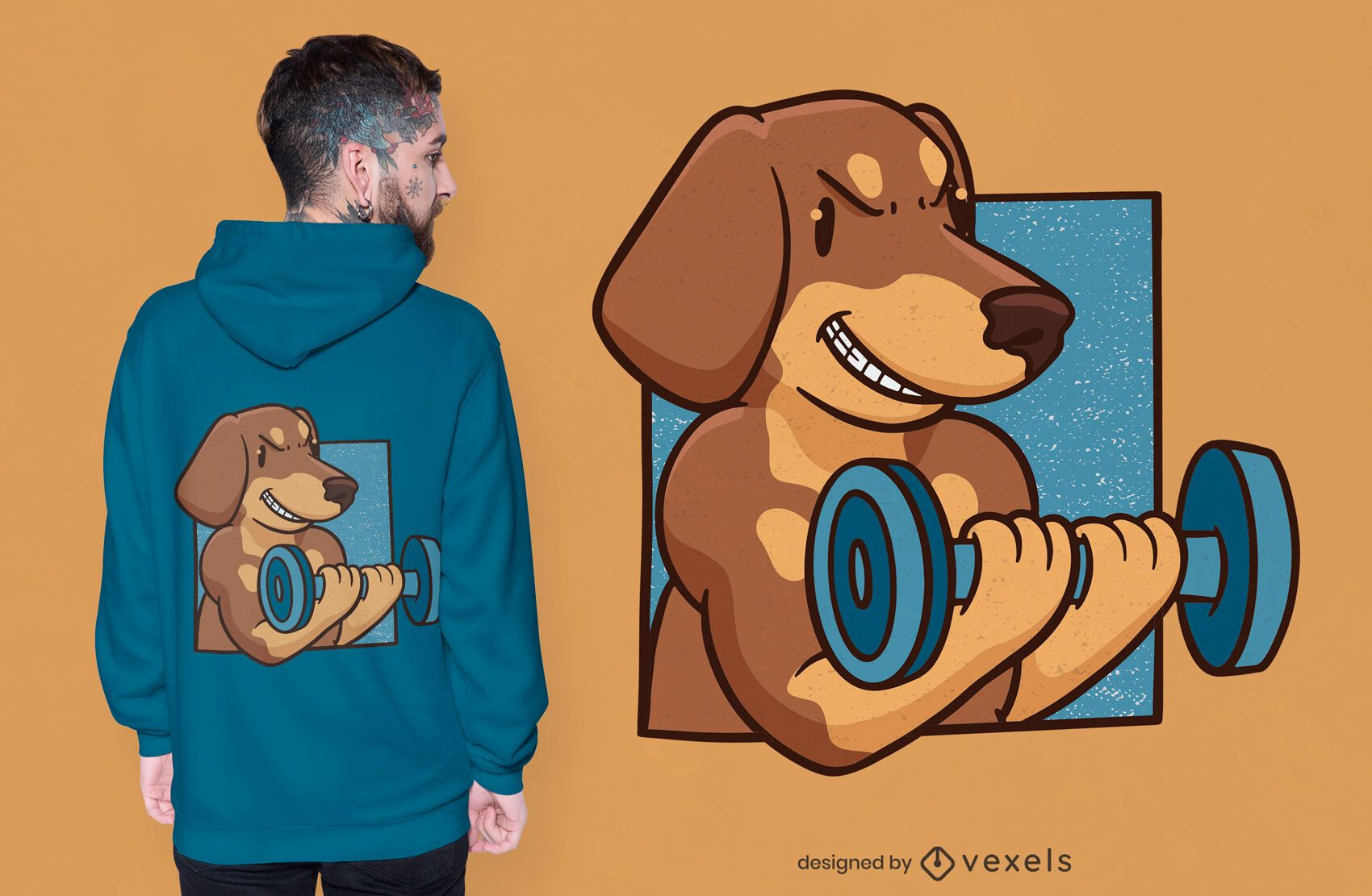 Muscular dachshund t-shirt design