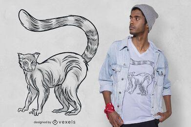 Diseño de camiseta lémur dibujado a mano