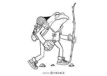 Ilustração de sapo caminhando
