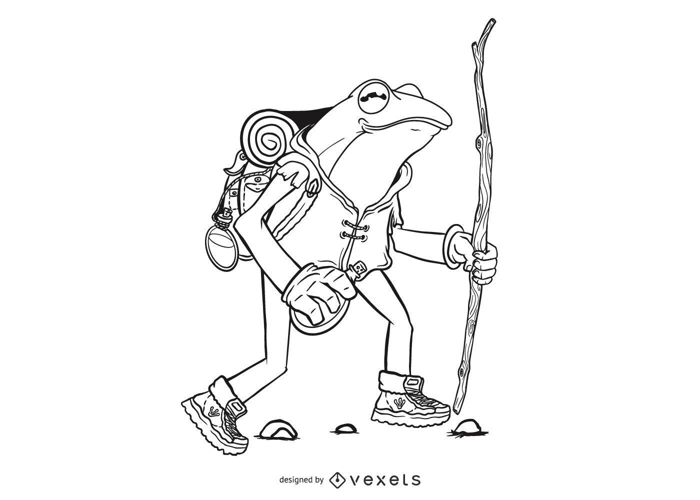 Hiking frog illustration