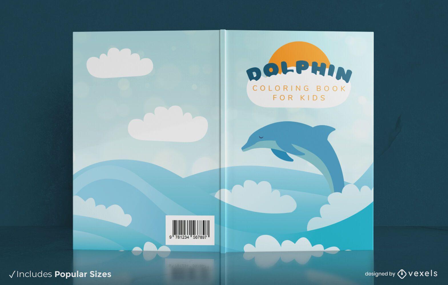 Swimming dolphin book cover design