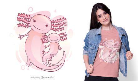 Diseño de camiseta familiar axolotl