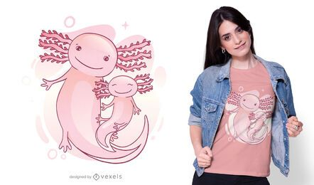 Family axolotl t-shirt design
