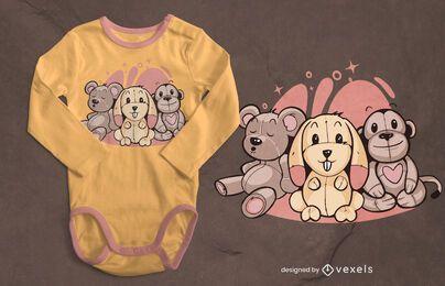 Diseño de camiseta de animales de peluche.