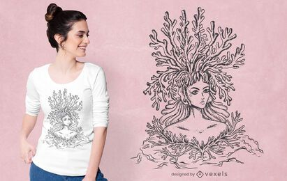 Diseño de camiseta de mujer coral