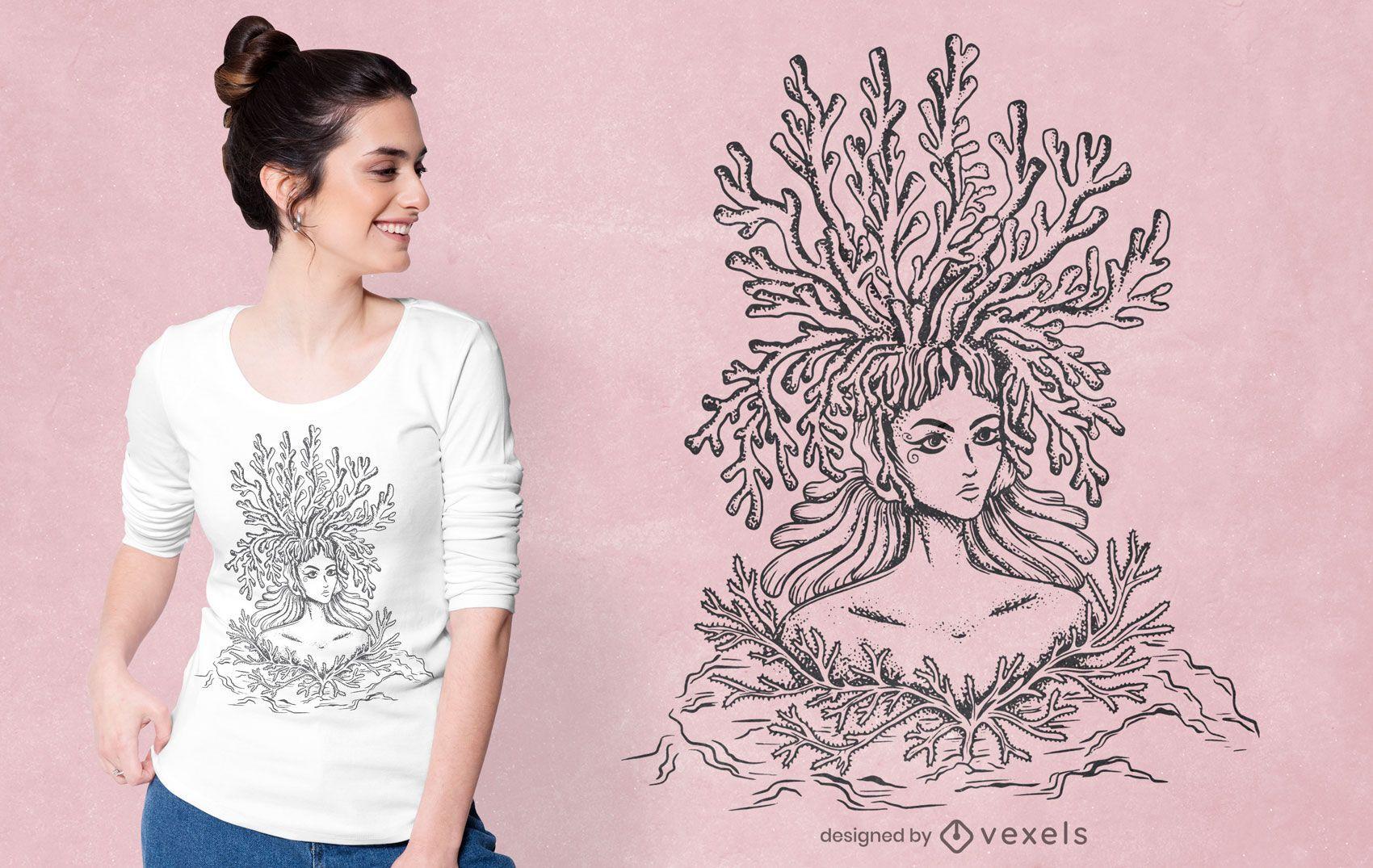 Coral woman t-shirt design