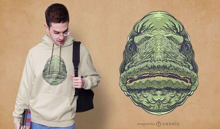 Diseño de camiseta de boca de pez