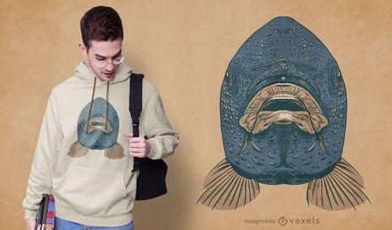 Diseño de camiseta de boca de carpa