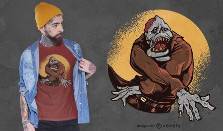 Diseño de camiseta de zombie de halloween