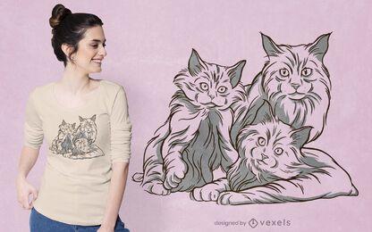 Diseño de camiseta de familia de gatos.