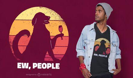 Design de camiseta com citação do pôr do sol do cachorro