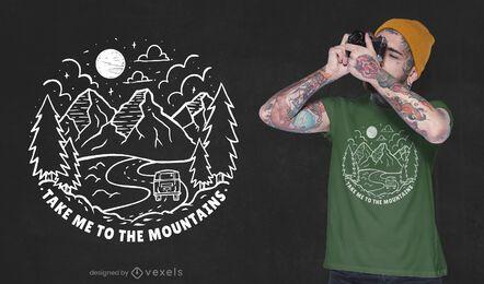 Leve-me ao design de camisetas das montanhas