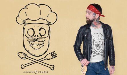 Diseño de camiseta de calavera de chef