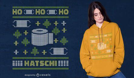 Diseño de camiseta ho ho ho hatschi