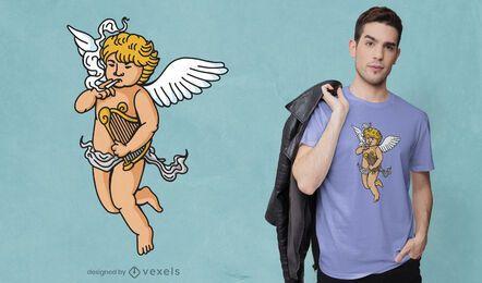 Diseño de camiseta de ángel fumando