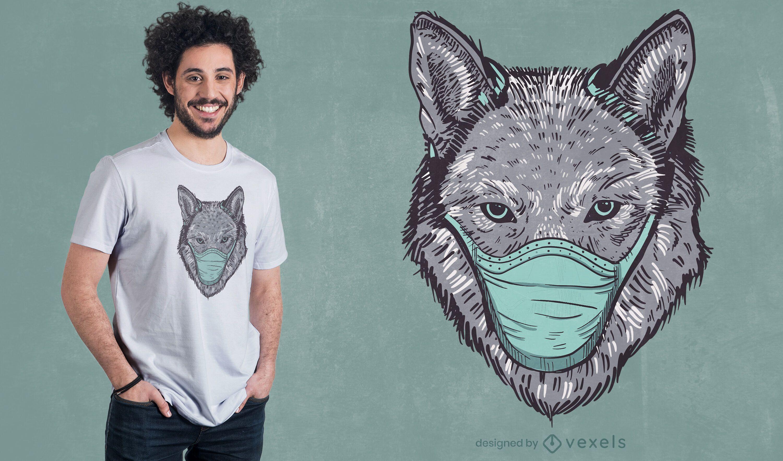 Diseño de camiseta de máscara de lobo