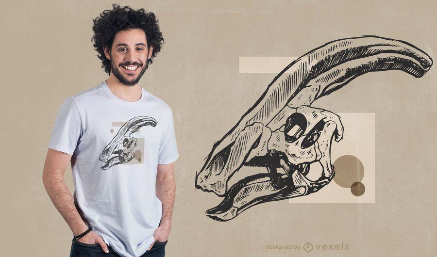 Parasaurolophus skull t-shirt design