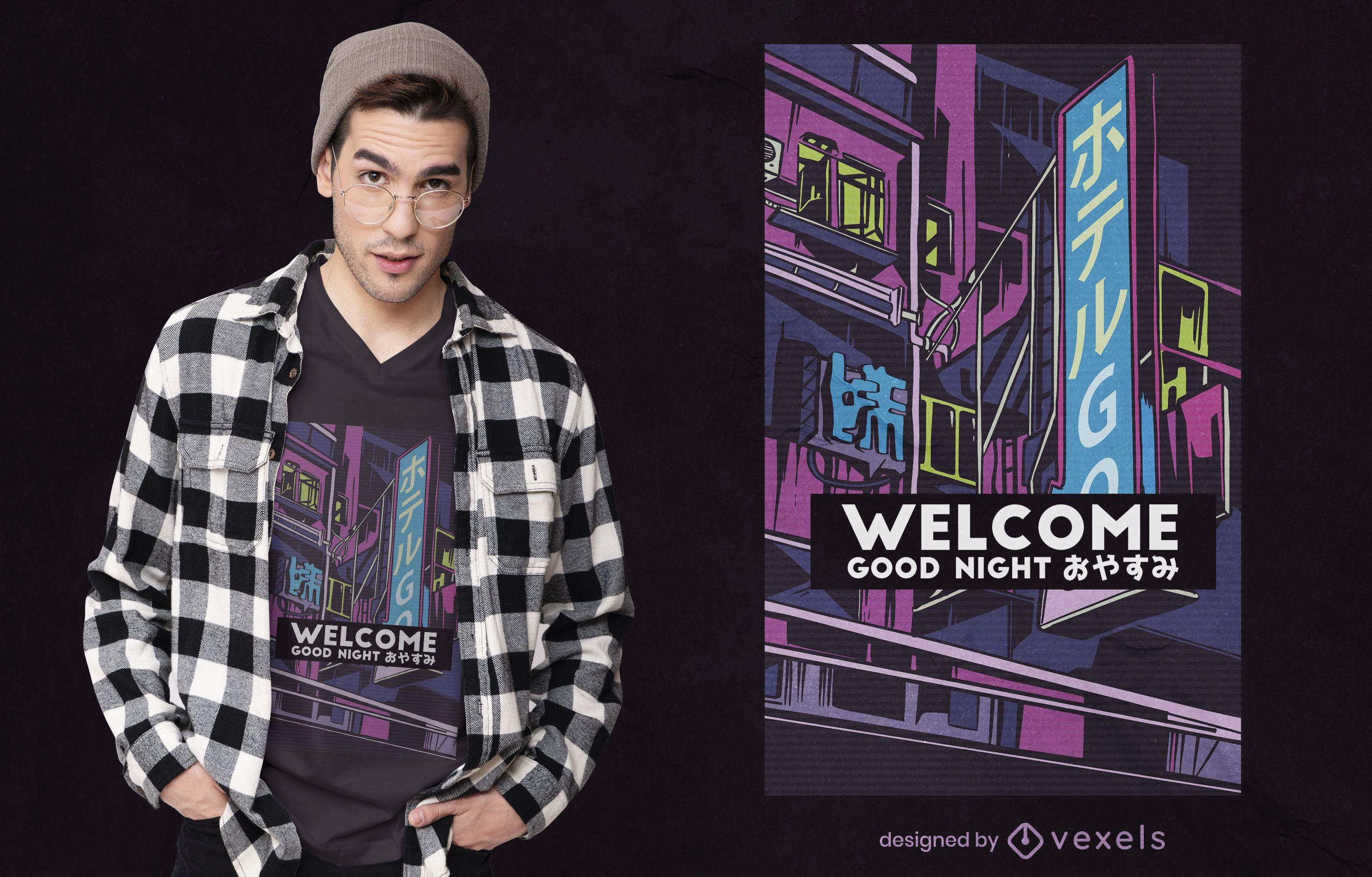 Vaporwave hotel t-shirt design