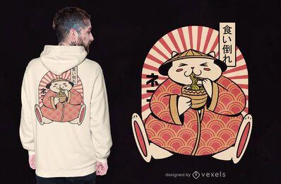 Diseño de camiseta de gato gordo comiendo ramen