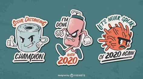 Conjunto de adesivos anti-coronavírus 2020