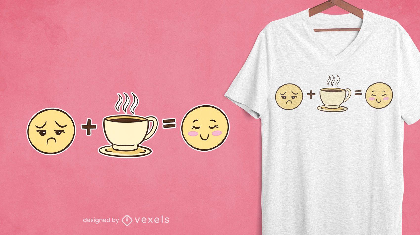 Design de camisetas emoticons de café