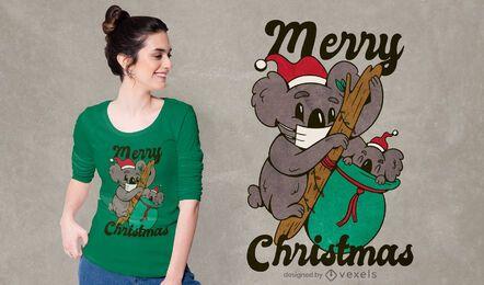 Diseño de camiseta navideña koala