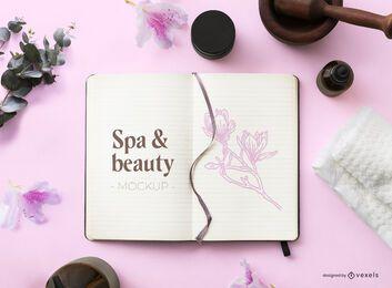 Composición de maqueta de cuaderno de belleza