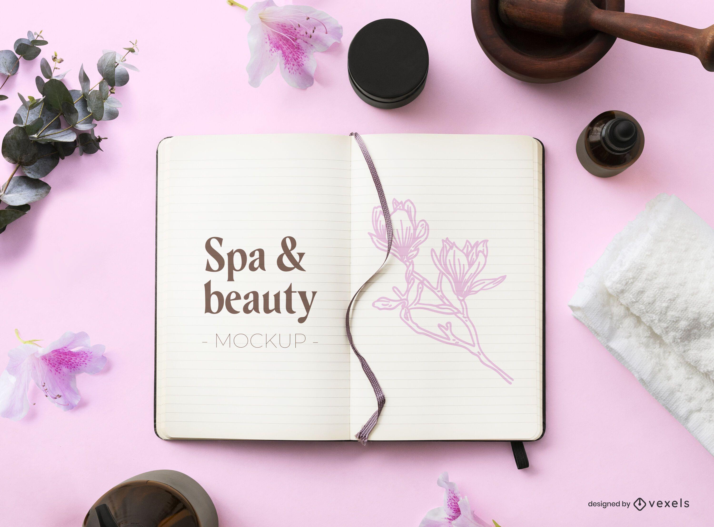 Beauty notebook mockup composition