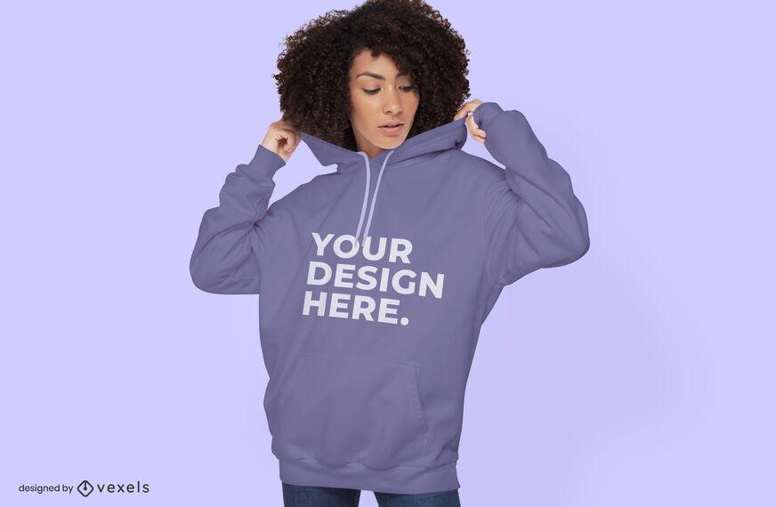 Female model sweatshirt mockup design