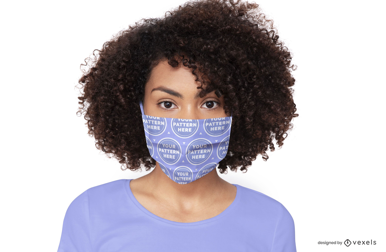 Model face mask mockup design