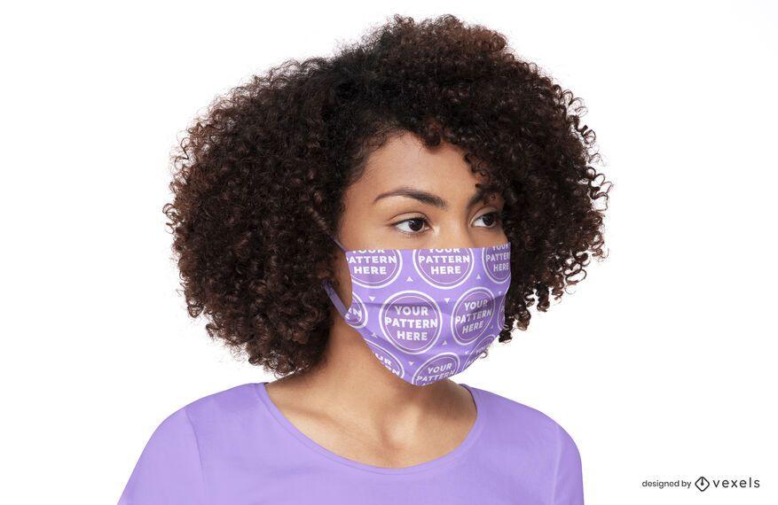 Woman face mask mockup design
