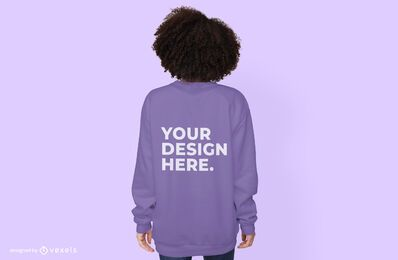 Back female model hoodie mockup design