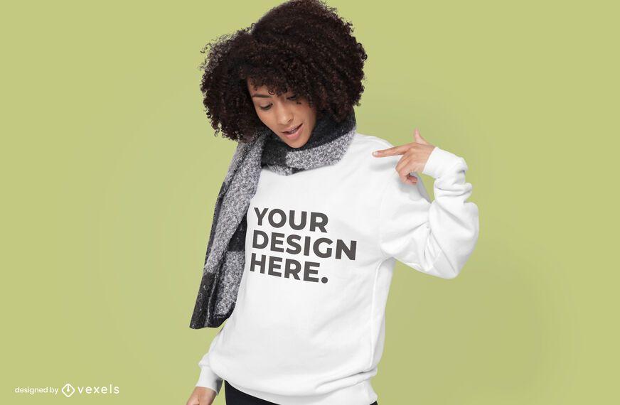 Model with scarf hoodie mockup design