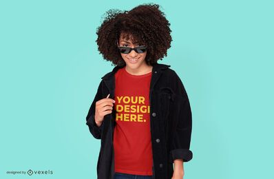 Sunglasses model t-shirt mockup design