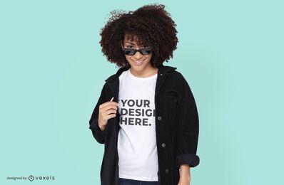 Sunglasses model t-shirt mockup design