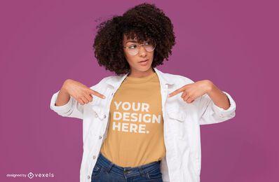 Glasses female model t-shirt mockup design