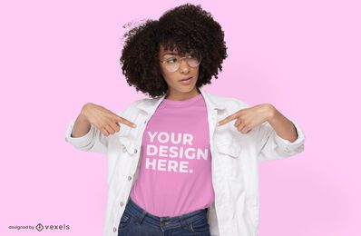 Glasses female model t-shirt mockup design