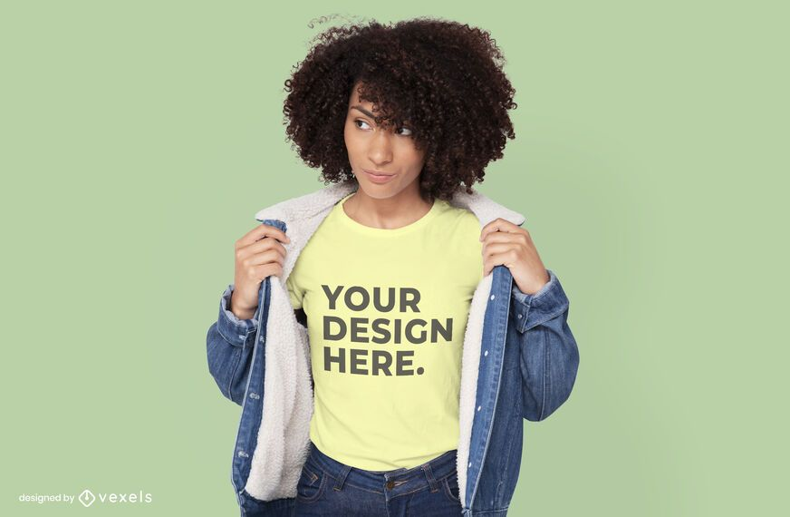 Diseño de maqueta de camiseta de modelo de chaqueta de jean