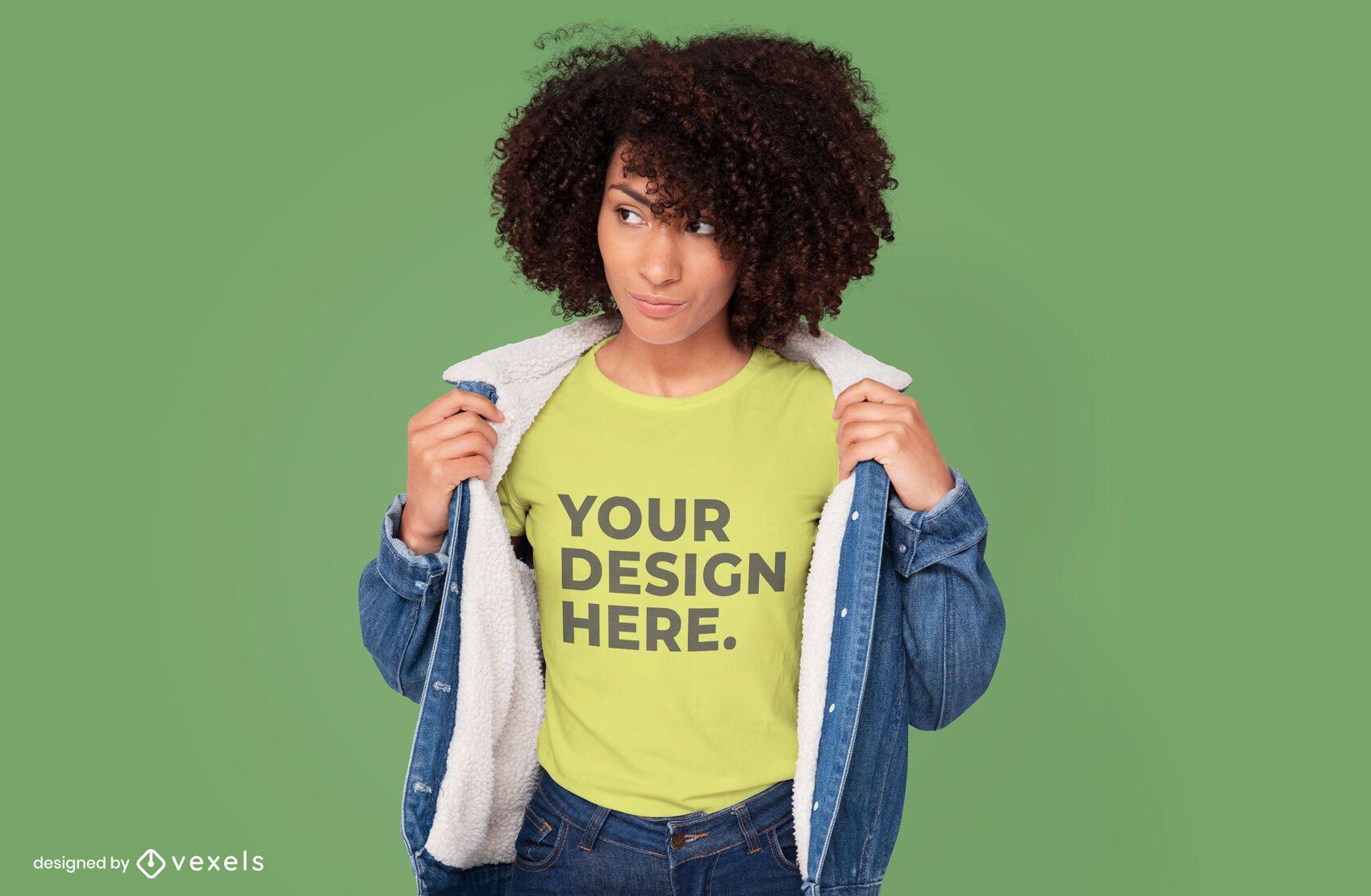 Jean jacket model t-shirt mockup design