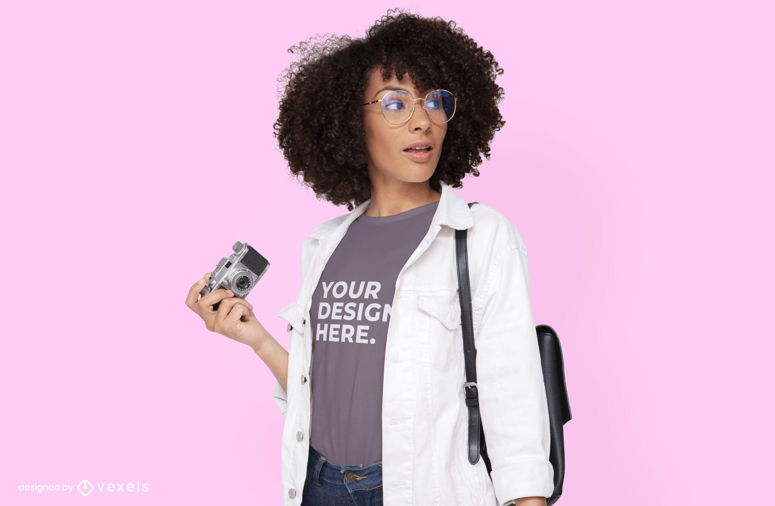 Camera model t-shirt mockup design