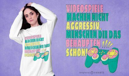 Diseño de camiseta de videojuegos agresivo.