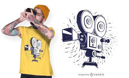 Diseño de camiseta de cámara de película vintage.