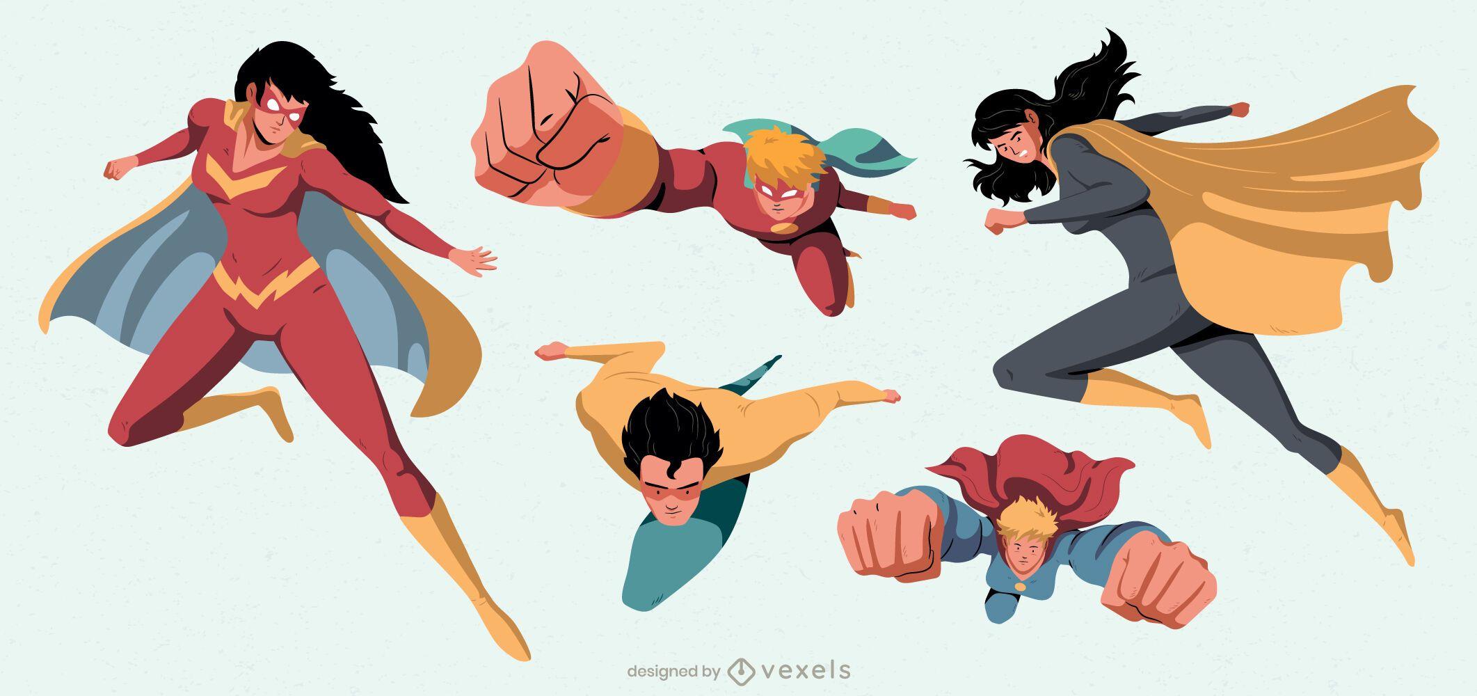 Conjunto de caracteres de superhéroes voladores